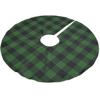 Rustic Green and Black Buffalo Check Plaid Brushed Polyester Tree Skirt