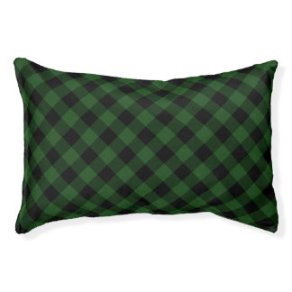 Rustic Green and Black Buffalo Plaid Pet Bed