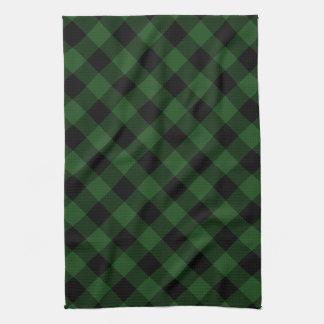 Rustic Green and Black Buffalo Plaid Tea Towel