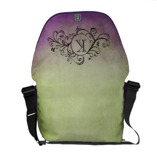 Rustic Green and Purple Bohemian  Flourish Courier Bag