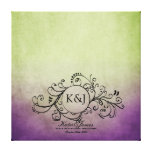 Rustic Green and Purple Bohemian Guest Book Canvas