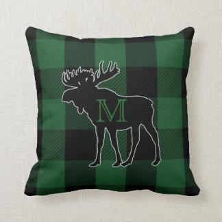 Rustic Green Buffalo Check | Monogrammed Moose Cushion
