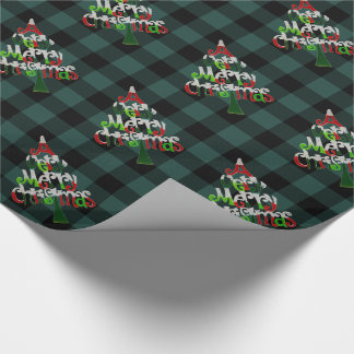 Rustic Green Buffalo Plaid Merry Christmas Tree Wrapping Paper