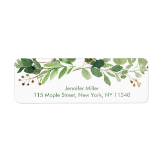 Rustic Green Floral Baby Shower Address Return Address Label