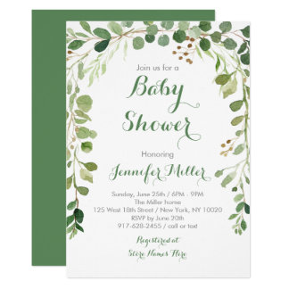 Rustic Green Floral Baby Shower Card