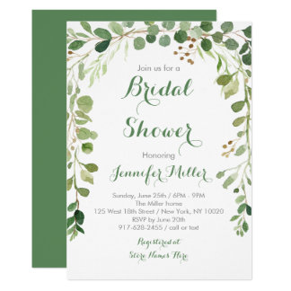 Rustic Green Floral Bridal Shower Card