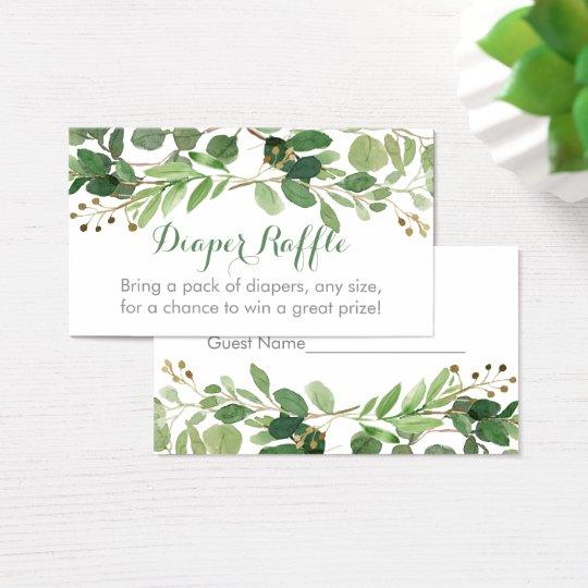 Rustic Green Floral Diaper Raffle Tickets