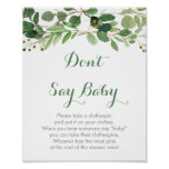 Rustic Green Floral Don't Say Baby Game Poster