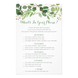 Rustic Green Floral What's In Your Phone Game Flyer