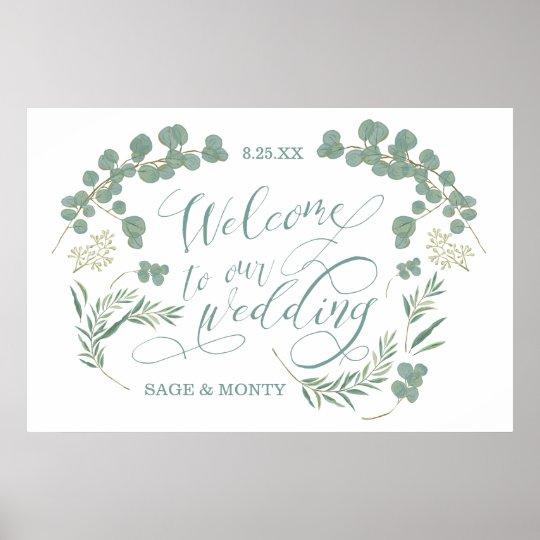 Rustic Green Laurel Leaves Welcome Wedding Poster