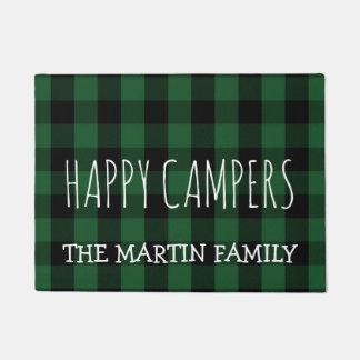 Rustic Green Lumberjack Plaid |  Happy Campers Doormat