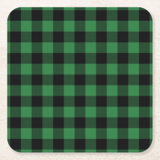 Rustic Green Plaid Pattern Holiday Square Paper Coaster