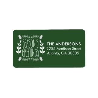 Rustic Green Season's Greetings Labels