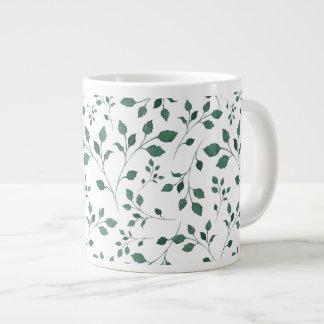 Rustic Green Watercolor Foliage Pattern Large Coffee Mug