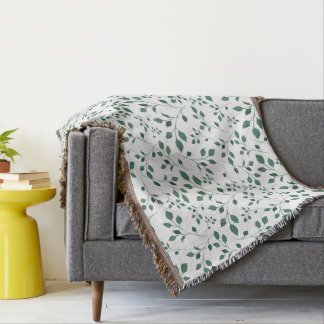 Rustic Green Watercolor Foliage Pattern Throw Blanket