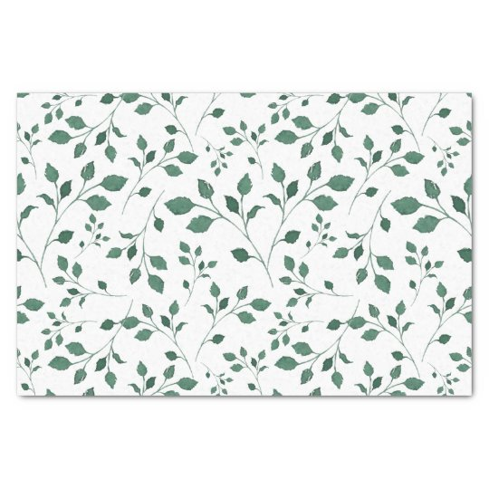 Rustic Green Watercolor Foliage Pattern Tissue Paper