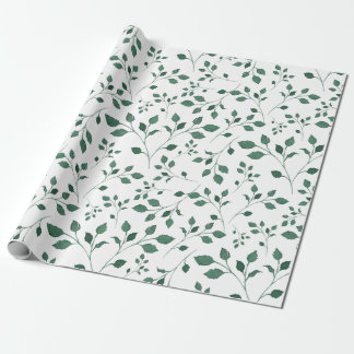 Rustic Green Watercolor Foliage Pattern Wrapping Paper