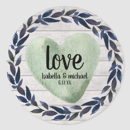 Rustic Green Watercolor Heart Personalised Wedding Classic Round Sticker