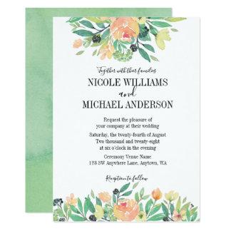RUSTIC Green watercolor peony Foliage WEDDING Card