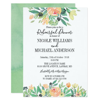 RUSTIC Green watercolor peony Rehearsal Dinner Card