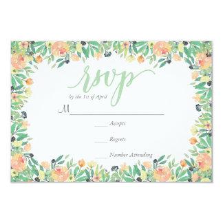 RUSTIC Green watercolor pink peonies  RSVP Card