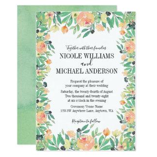 RUSTIC Green watercolor pink peony Flowers WEDDING Card