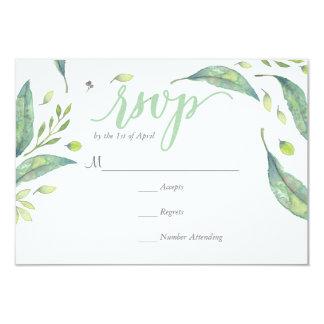 RUSTIC Green watercolor WREATH Foliage  RSVP Card
