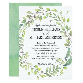 RUSTIC Green watercolor WREATH Foliage WEDDING Card