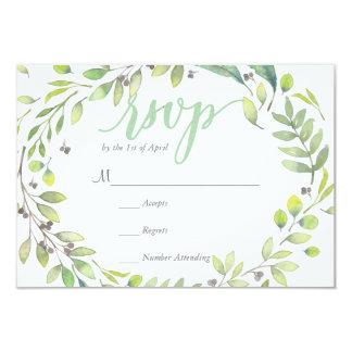 RUSTIC Green watercolor WREATH leaves  RSVP Card