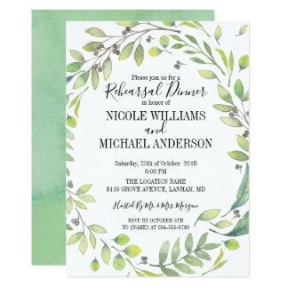 RUSTIC Green watercolor WREATH Rehearsal Dinner Card