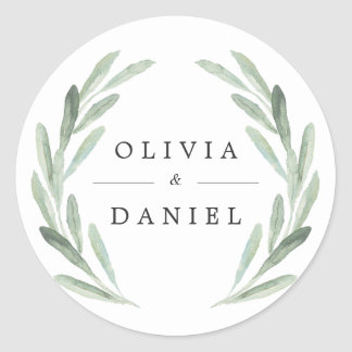 Rustic Green Watercolor Wreath Simple Wedding Classic Round Sticker
