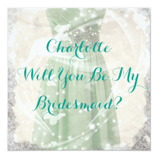 Rustic Green Will You Be My Bridesmaid Invitation