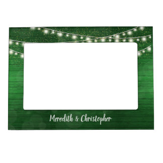 Rustic Green Wood and String Lights Wedding Magnetic Picture Frame
