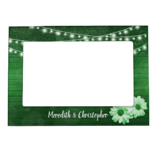 Rustic Green Wood Daisy String Lights Wedding Magnetic Picture Frame