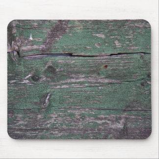Rustic green wood mouse mat