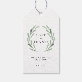 Rustic Green Wreath Elegant Wedding Thank You Gift Tags