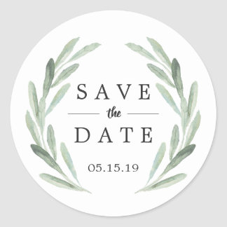Rustic Green Wreath Wedding Save the Date Classic Round Sticker