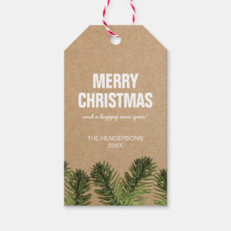 Rustic Greenery Merry Christmas Tag | Holiday