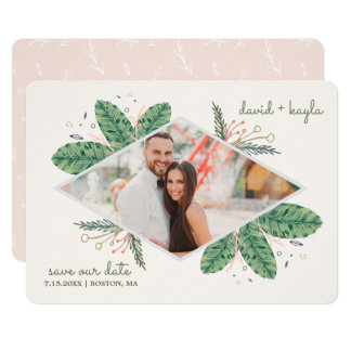 Rustic Greenery Tropical Framed Save the Date Card