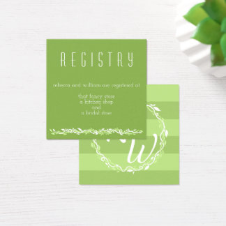 Rustic Greenery | Wedding Vine Registry Info Square Business Card