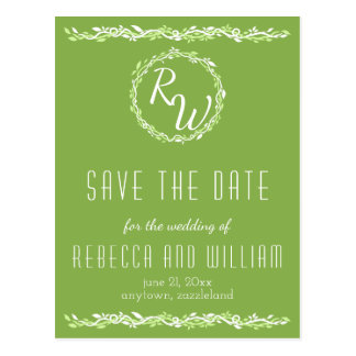 Rustic Greenery | Wedding Vine Save The Date Postcard