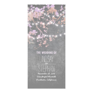 Rustic Grey and Pink Tree Branches Wedding Program Customised Rack Card