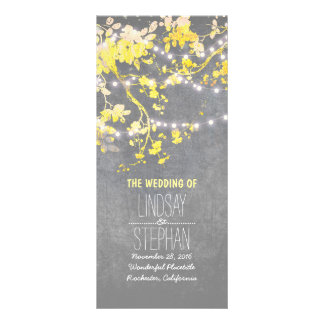 Rustic Grey and Yellow Branches Wedding Programs Rack Card