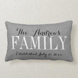 Rustic Grey Family Monogram and Wedding Date Lumbar Cushion