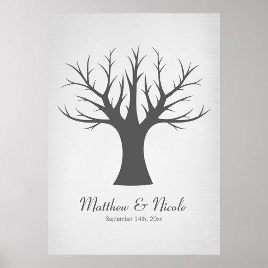 Rustic Grey Fingerprint Tree Wedding Poster