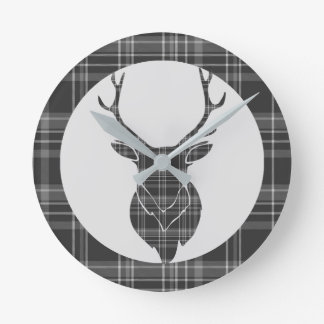 Rustic Grey Scottish Tartan And Stag Head Antler Round Clock