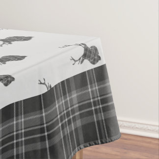 Rustic Grey Tartan And Stag Head Antler Tablecloth