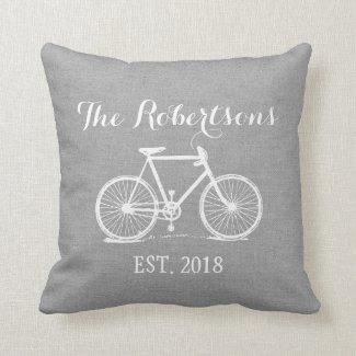 Rustic Grey Vintage Bicycle Wedding Monogram Cushion