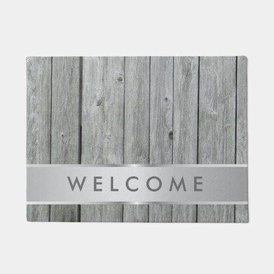 Rustic Grey Wood Farmhouse Welcome Doormat