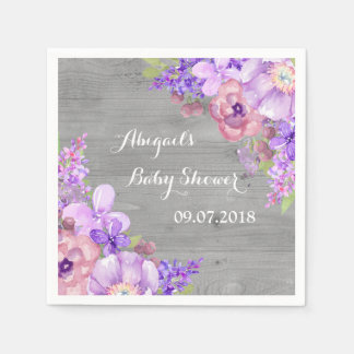 Rustic Grey Wood Purple Floral Baby Shower Napkins Disposable Napkin